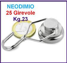 1Pz NEODIMIO MAGNETE A GANCIO 25 mm Girevole  23 KG. CALAMITA CALAMITE MAGNETI