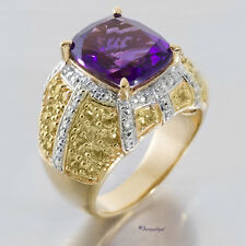 AFRICAN AMETHYST, YELLOW SAPPHIRE & DIAMOND ACCENT COCKTAIL RING S8