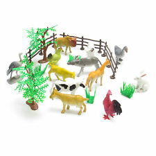 CHILDRENS TOY FARM ANIMALS SET COWS HORSES LARGE CHICKEN RABBIT SHEEP ANIMAL SET