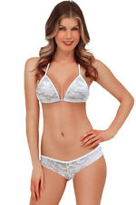 Exotic Lace Triangle Thong Bra Bikini Lingerie Sets White