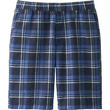 UNIQLO Men's Linen / Cotton Madras Shorts Navy Check Plaid Elastic Waist M *NWT*