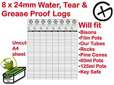 8 Geocache Logs Geocaching Log Sheets Water Rip Tear & Grease Resistant Paper