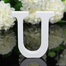 U Wood Wooden Letter White Alphabet Freestanding Art Home Wedding Party Decor 04