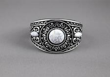Silver Black White bracelet textured medallion plastic hinged bangle cuff wide