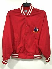 Vintage Walt Disney World Red Baseball Jacket Medium Made in USA Mickey Mouse