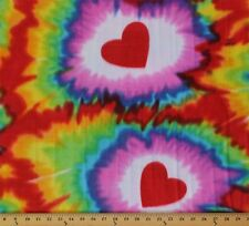 Hearts Tie Dye Red Purple Fleece Fabric Print by the Yard A335.05