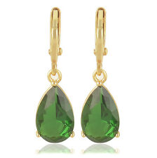 fashion 9K Solid Gold Filled Emerald Green CZ Womens Water Drop Dangle Earrings