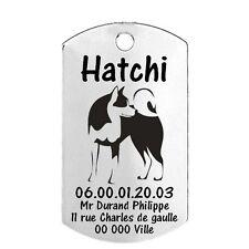 Médaille Identification Chien Akita inu personnalisée avec nom, adresse et tél