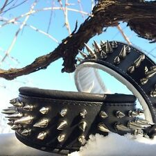 Real leather dog collar with big spikes and soft leather cushion. M-XXL. Pitbull