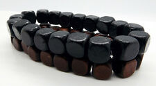 Mens Beads Bracelets Black Brown Cubes 2pcs Surfer Handmade Jewellery By TaKuKai