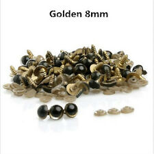 100Pcs 8mm Color Plastic Safety Eyes Teddy Bear Doll Animal Puppet Craft GOLD o9