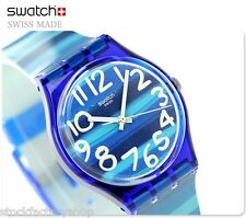 "New Swiss Made Blue Color Code Plastic Unisex Swatch Watch Quartz""LINAJOLA""GN237"