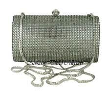 Pewter Gray Crystal Evening Bag Silver Metal Clutch Purse w/ Swarovski Crystals