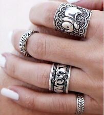 4PCS Silver Punk Vintage Elephant Ring Set Women Retro Finger Rings Boho Style b