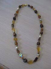 "Estate Costume Autumn Color Bead Necklace 20"" Yellow Brown Orange Pearl"