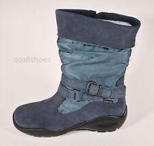 Ecco Girls Gore-Tex Blue Suede Combi Zip Boots UK 2 EU 34 Winter Queen RRP £69