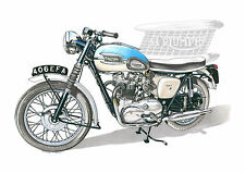 Triumph Bonneville T120 Pre-Unit, Greeting Card A5 size