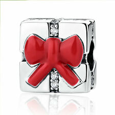 Authentic Sterling Silver Red Enamel Box of Christmas Gift Charm Beads for Women