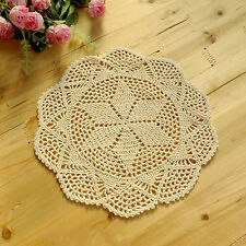 Chic Vintage Beige White Hand Crochet Handmade Doily Table Hollow Cup Mat Pad