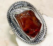 5CT Natural Rough Citrine Genuine 925 Solid Sterling Silver Ring Sz 6.5