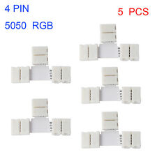 WOW - 5 X 10mm 4 Pin 3528 5050 RGB LED Strip Light Connector T Clip PCB Adapter