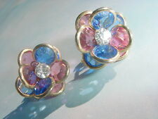 *** Beautiful Blue & Red Flower Crystal Earrings *****