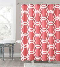 Honey Circle Coral White Fabric Shower Curtain Victoria Classics
