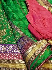 Indian green With Embroidered border and gold work pleating
