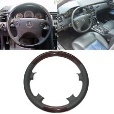 Grey Leather Wood Steering Wheel Cover for 00-02 Mercedes W210 E C208/W208 CLK