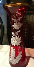 "Vintage Bohemian Crystal Glass Ruby Red Hand Painted 10-1/4"" Vase *"