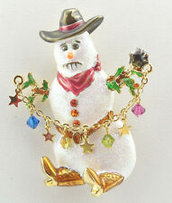 KIRKS FOLLY WILD WEST COWBOY UP SNOWMAN PIN/ PENDANT ~~ NEVER RELEASED~ GOLDTONE