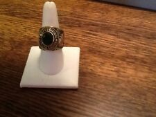 Truck Driver's Ring- Emerald Green Crystal Stone Size 12