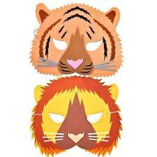 2 Jungle Animal Foam Masks - Lion & Tiger - Childrens Fancy Dress Masks