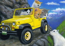 Kittens cat jeep car mountain goat off road trail OE aceo print art