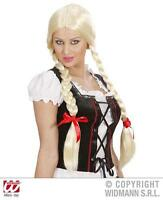 Ladies Long Blonde Wig With Plaits Oktoberfest Alps Girl Fancy Dress