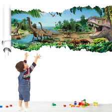 3D Effect Jurassic World Dinosaur Vinyl Wall Decals Sticker Kids Room Home Decor