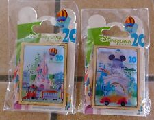 LOT 2 PINS DISNEYLAND PARIS RETRO POSTER 20TH ANNIVERSARY 20 EME ANNIVERSAIRE