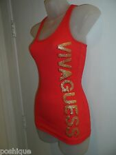 Guess XS Wifebeater Top Bright Orange Gold Rhinestone Crystal Logo Racerback
