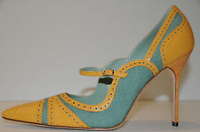 $865 New MANOLO BLAHNIK ESTIPULA Green Yellow Perforate Mary Jane SHOES 41 10.5