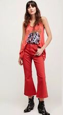 NEW Free People Chloe Crop Flare Leg Jeans in Red Rouge Size 24