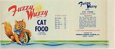 VINTAGE CAN LABEL CAT FOOD 1950S ORIGINAL PET FUZZY WUZZY ATE A FISH LUBEC MAINE
