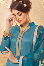 Designer Banarasi Silk Salwar Kameez Blue Color Unstiched Party Wear Material