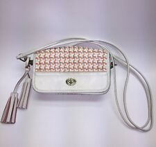 Coach Legacy Chalk & Coral Caning Woven Leather Penny Shoulder Cross body Bag
