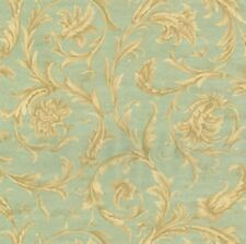 Wallpaper Ronald Redding Beige and Cream Acanthus Scroll on Aqua and Gold Faux
