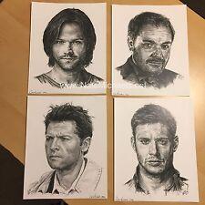 Supernatural, 4 Art Print Set / Jared Padalecki, Jensen Ackles- Ink, Drawing