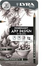 LYRA REMBRANDT ART DESIGN METAL CASE 12 ASSORTED ARTIST DRAWING PENCILS *BNIB*