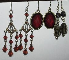 AMBER TONE drop dangle filigree earrings LOT pierced hook
