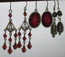 AMBER TONE drop dangle filigree earrings LOT pierced hook