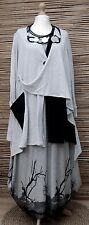 LAGENLOOK*KEKOO*COTTON MIX AMAZING QUIRKY LONG JACKET*STONE/BLACK*SIZE 46-48-50