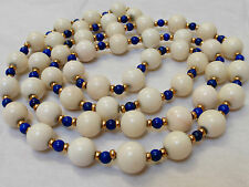 VINTAGE NATURAL 10mm WHITE ANGEL SKIN CORAL, LAPIS, 14KG BEADS NECKLACE, 80g